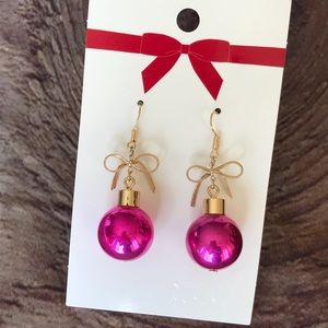 Christmas Baubles Earrings Hook Pink Gold New